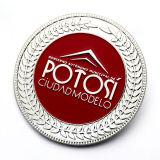 La promoción de la moda el color de esmalte blanco Metal Réplica de la moneda de plata