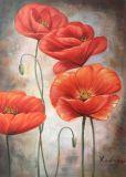 Hermoso Lienzo Floral Pintura al Óleo para Salón