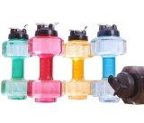 Halteres grande capacidade de garrafas de água de desportos de plástico com tampa