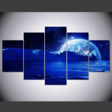 5 Farbanstrich-Kunst-Abbildung-Wohnzimmer-Hauptwand-Dekoration-Kunst-Segeltuch der Panel-HD planetarisches