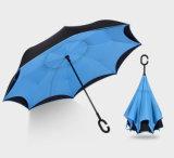 2018명의 최고 큰 큰 창조적인 C 손잡이 리버스 질 상표 겹켜 방풍 비가 오는 밝은 우산 차 남자 여자 직경 126cm