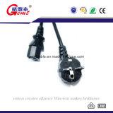 Enchufe de potencia de tres dientes europeo y enchufe de potencia femenino de Monitor/PC