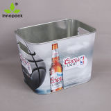 小さいハンドルが付いている正方形によって印刷される金属ビールアイスペール