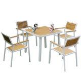 Patio Gaden Hotel Casa de madera de teca de aluminio de oficina mesas y sillas de madera de plástico (J826)