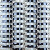 Mattonelle nere Iridescent Handmade di vetro di mosaico della parete Tt16