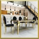 Großhandelsfoshan-modernes Goldovaler runde Rückseite weißer PU-lederner Edelstahl, der Bankett-Stuhl für Gaststätte-Hochzeit speist