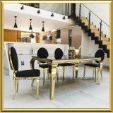 Foshan 도매 현대 로즈 금 대중음식점 결혼식을%s 연회 의자를 식사하는 타원형 둥근 뒤 백색 PU 가죽 스테인리스