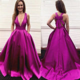 Безрукавный платье вечера a - линия мантии E52712 партии выпускного вечера пурпуровой тафты изготовленный на заказ