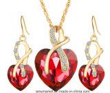 Joyería de imitación de los pendientes cristalinos en forma de corazón del Zircon Necklace+ para la boda del partido