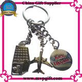 Acero inoxidable Keychain del metal con la impresión abovedada de la insignia