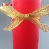 Pointed Signal Red Thin Pillar Candle with Gold Ribbon
