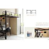 寝室の家具の机が付いている強い金属の二段ベッド