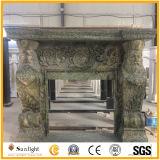 Marmo verde naturale/camino di pietra della mensola del camino della pietra del posto del fuoco con la mano intagliata