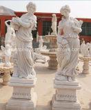 Marmo di bianco cinese una signora Statues di quattro stagioni