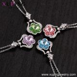43482 Xuping Ha diseñado nuevos chapado en oro blanco de la moda de los cristales de Swarovski joyas colgante, collar de flores