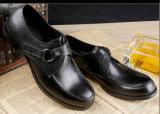 黒い光沢がある革メンズフォーマルドレスの履物の靴