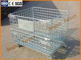 Pliage et empilables de cage de stockage de treillis métallique en acier avec roulettes