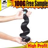 A extensão brasileira do cabelo é onda do cabelo humano