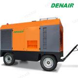 Motor Diesel móvel do Compressor de ar de parafuso usado para o disjuntor de betão