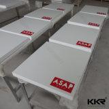 Tamanho personalizado mesas de jantar de pedra artificial branco para mobiliário de restaurante