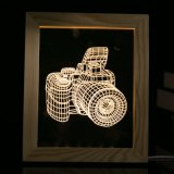 Personalização - frame de madeira do diodo emissor de luz da luz da noite da ilusão da decoração 3D da lâmpada de tabela da mesa do diodo emissor de luz