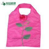 L'épicerie renforcée réutilisable de traitement grande personnalisent le sac à provisions se pliant de forme de Rose/sac promotionnel