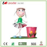 Het populaire Mooie Dansende Meisje van het Metaal met Flowerpos voor OpenluchtDecoratie, maakt Uw Eigen Tuin Plantpots
