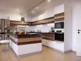 Gabinete de cozinha lustroso elevado feito-à-medida