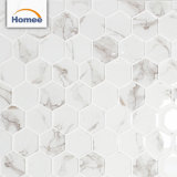 カラーラの白い六角形の壁はインクジェットガラスモザイク・タイルをタイルを張る