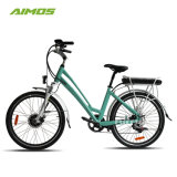 Bici elettrica verde della città di protezione dell'ambiente di Aimos per la signora