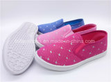 子供の女の子の学校の平らな靴の注入のスリップオンのズック靴(ZL1017-8)