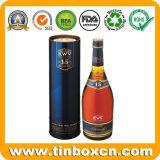 Contenitore rotondo di stagno del whisky, barattolo di latta della vodka, stagni del vino di Vsop