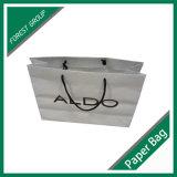 Bolsa de papel de color blanco de algodón con asa