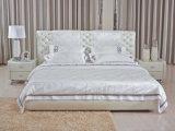 Домашней обитая мебелью кровать кожи или ткани мягкая с Headboard