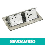DoppelPop oben Socket Stainless Double Row Floor Box
