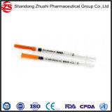 Medizinische Wegwerforange bedeckt Spritze des Insulin-1ml mit einer Kappe