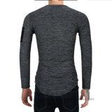Maglietta lunga adatta del manicotto dell'ente puro di colore del cotone di alta qualità di marca dell'OEM