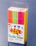 Food-Grade PP Material 225PCS PVC Box Packed Flexible Straws (JY416)