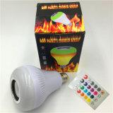 E27 RGBW LED multicolor altavoz Bluetooth Remote Music fuego efecto llama parte lámpara con altavoz