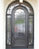 Mão elegante agradável clássica - ferro feito única porta com Sidelights