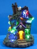 """LEIDENE van Halloween van de hars Decoratie 6 het """" Huis van het Spook met 5 LEIDENE Lichten"""