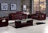 Самомоднейшая софа кожи офисной мебели с древесиной