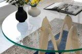中国の最もよい楕円形の鉛筆の端のゆとりの浮遊物の緩和されたコーヒーテーブルの上ガラスの卸売
