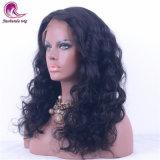 Соединенных Штатов Бразилии черного цвета волос Fronta кружева Wig природных волны длинных волос для женщин