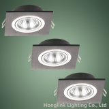 GU10/MR16 Lamp Holder를 위한 까만 Aluminum Square Adjustable Recessed Downlight Housing