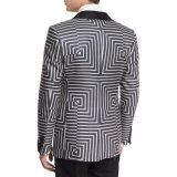 Made for Measure Shawl Collar Satin One Button Front Geometric Print Suit Jacket (SUIT7503)