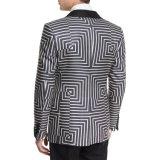 À medida gola Xale Satin um botão impressão geométrica Suit Jacket Frontal (PRENSA7503)