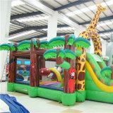 Custom colorido jardim zoológico de desenhos animados insuflável castelo de obstáculo para divertimento