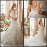 Abiti nuziali Diamante delle cinghie di spaghetti che borda il vestito da cerimonia nuziale di Tulle del merletto Mrl2883