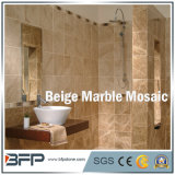 Beige natürliches Marmorpoliermosaik/Fliesen für Innenbodenbelag-Entwurf